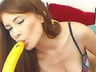 Sexy Ginger-haired Has Joy With Banana