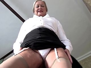 Beautiful Matured Granny In Nylon Stockings Stripteasing Invitingly Indoors