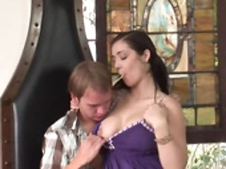 A Brown-haired With Petite Tits Is Getting A Dick In Her Cock-squeezing Shaven Cunny