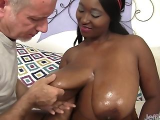 Horny Milky Old Man Loves Big Black Tits Of Marie Leone