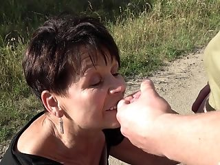 Matures Granny Libuse Sprayed With Spunk On Face Outdoors