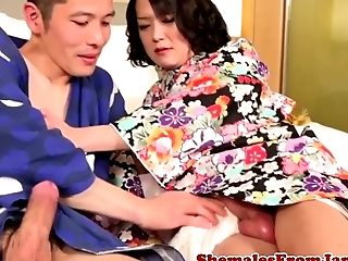 Non-traditional Japanese Tgirl Plays With Cumload