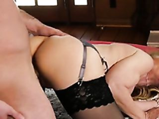 While Smooching Her Stud Platinum-blonde Head With Big Tits Nina Hartley Rails Her Stud