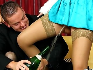 Five Ladies With Total Bladders Piss And Fuck The Stud