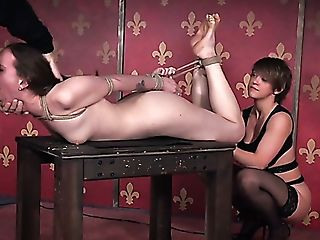 Milky Auburn Haired Chick Strapped In Shibari Style And Facefucked Hard