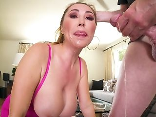Big Facial Cumshot Cum-shot Makes A Mess Of The Asian Deep-throater