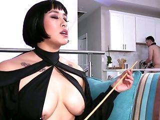 Pervy Mistress In Corset Puts On Strap Dildo And Fucks Servant Dude