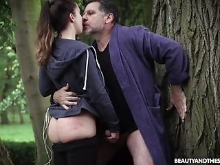 Sporty Fit Dark Haired Stunner Teressa Bizarre Entices And Fucks An Old Dude