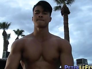 Hot Blonde Chick Gets Fucked By the Hunky Man by the Pool