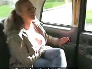 Giant Breasts First-timer Ash-blonde Passenger Screwed By Faux Driver