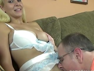 Adorable Blonde With Big Natural Tits Gargles And Fucks A Creepy Old Man On The Couch In Her Underwear!