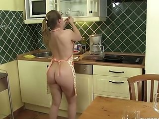 Nude Housewife In Apron Lady Bug Give S Deep Throat Under The Table To A Few Guys