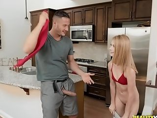 Skinny Petite Blonde Teenage Fucked Rear End Style In The Kitchen