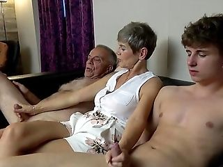 Hot Granny Hungers For These Two Big Dicks In Her Little Fuck Holes