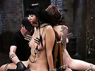Tattooed Ball-gagged Hoe Anna De Ville Gets Her Puny Tits Pinned Hard