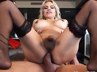 Amazing And Beautiful Shemale Foxxy Gets Fucked Hard By Lucky Dude