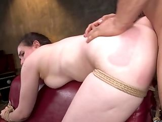 Ball-gagged Black-haired Sub Brutal Banged