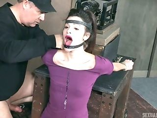 Perverse Dude Fucks Face Of Tied Up To The Table Whore Eden Sin