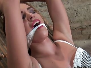 Sub Beauty Strapped While Having Jiggling Orgasm