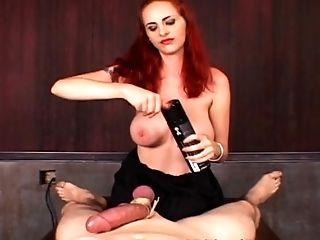 Fem Dom Tit-banging By Ginger-haired In Ball Kicking Bondage & Discipline