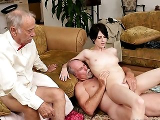 Jaw Ripping Off Black-haired Chick Alex Harper Fucks Two Horny Old Farts