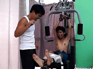 Asian Boy Idol Kittled On The Gym