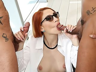 Big-boobed Ginger-haired Luna's Big Weenie Double Penetration