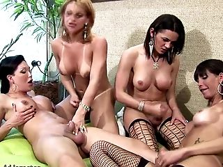 Four Trannies Eat Wine Off Each Others Raw Bubble Culos