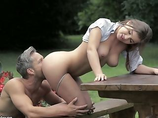 Natural Gf With Not Bad Arse Is Fond Of Railing Dick During Picnic