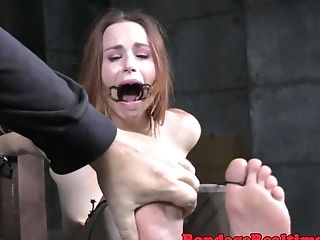 Obedient Cougar Gets Her Feet Canned