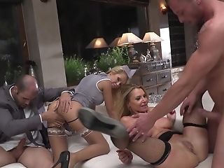 Four Exhilarated Stewardesses Dragged Into Crazy Backdoor Sex Orgy