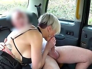 Blonde Wifey Rails The Pole On The Back Seat