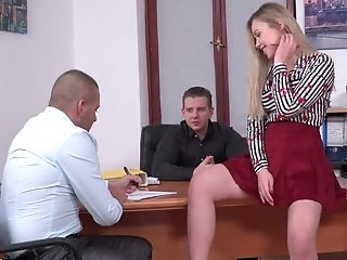 Russian Assistant In Brief Miniskirt Selvaggia Is Fucked By Her Manager And His Counterpart