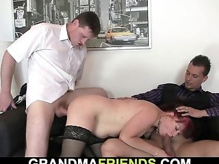 Biz Woman Spreads Gams For Two Guys