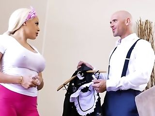Bald Chief Has Wild Romp With Voluptuous Maid In His Big Palace