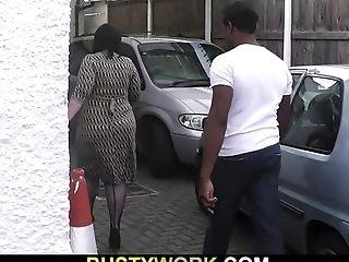 Big-boobed Woman In Fishnets Rails Big Black Boner