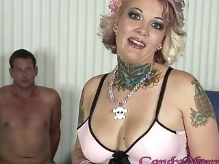 Chubby Tattooed Huge-chested Blonde Cougar Candy Monroe Takes A Big Black Manstick