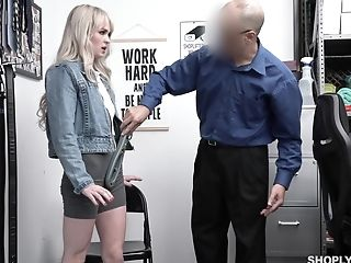 Pretty Platinum-blonde Student Lilly Bell Gets Disciplined For Shoplifting