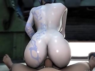Hot Blonde And Black-haired With Big Tits And Stunning Sexy Rump Getting Hammered