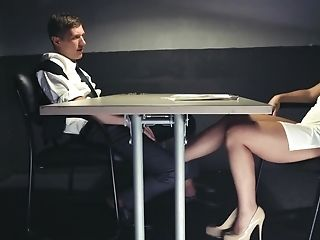 Bad Blonde Damsel Tempts Detective For Hump In Questioning Room