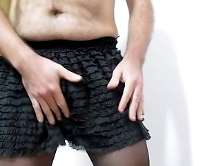 Black Mini-skirt And Pantyhose, Green Underpants.