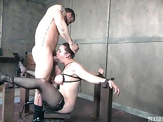 High High-heeled Shoes On A Black-haired Honey Bella Rossi As She Gets Manhandled By A Trouser Snake