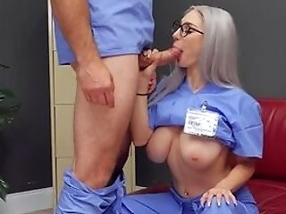 Skinny Nurse Fits Her Smooth-shaven Peach With A Good Dick
