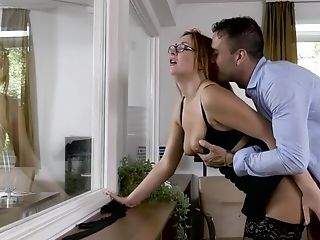 Eva Berger Gets Her Big Rump Sprayed With Jizz After Office Bang-out