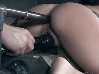 Skinny Cougar Eden Sin Slobbers Over Her Ball Gag While Being Manhandled