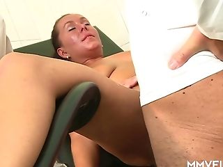 German Mummy Curly Ann Gets Her Honeypot Fucked Right On The Gynecological Stool