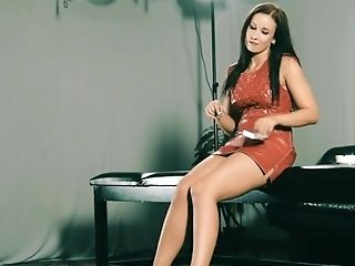 The Hot Teenage Female Wears A Sexy Leather Sundress And Smokes A Ciggy.