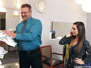 Spoiled Chick Bambi Entices Her Stepfather In His Office