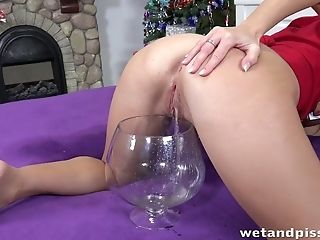 Smelly Long-legged Chick Jenifer Jane Pisses Into A Glass And Masturbates With Plaything