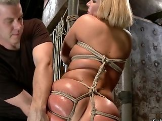 Taut Tied Platinum-blonde Dual Intrusion Toyed On Wrist And Ankle Bondage